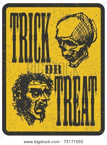 Sign board with zombie face. Halloween poster. vector illustration eps8