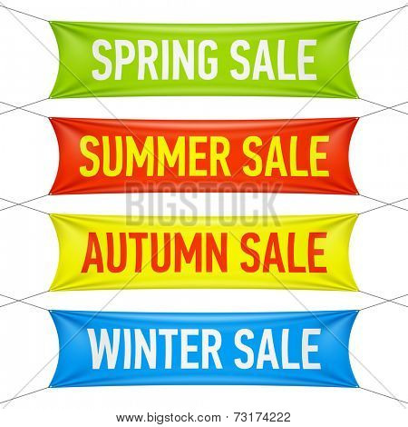 Spring, summer, autumn, winter sale vinyl banners. Vector.