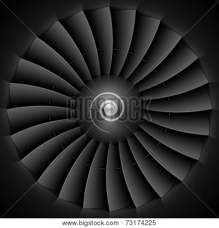 Jet engine turbine blades. Vector.