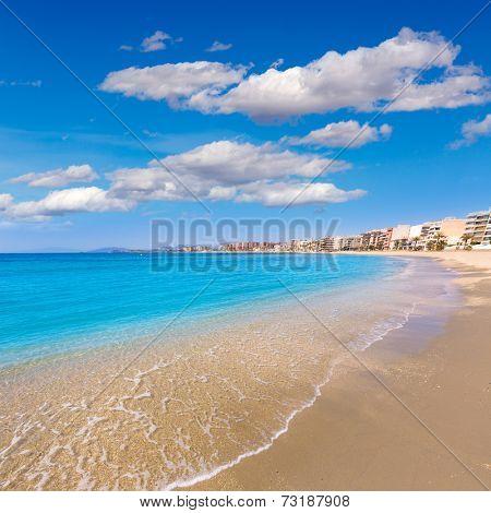 Aguilas beach Murcia Poniente bay at Mediterranean sea of Spain
