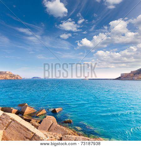 Cartagena port in Murcia at Mediterranean sea of Spain