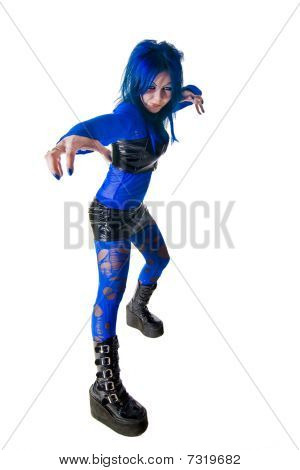 Cyber Goth Girl Posing Like Master Of Kung Fu