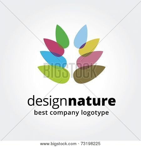 Abstract vector colord flower logotype concept isolated on white background. Key ideas is spa, beauty, design, nature, creative, health. Good for corporate identity and branding