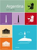 Landmarks of Argentina. Set of color icons in Metro style. Raster illustration. poster
