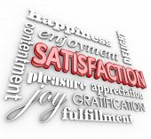 Satisfaction 3d words in a collage background with happiness, enjoyment, delight, contentment, pleasure, appreciation, gratification and fulfillment poster