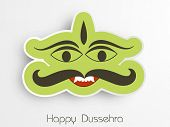 Illustration of Ravana face in funny way for sticker with Happy Dussehra text. poster