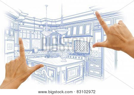 Female Hands Framing Blue Custom Kitchen Design Drawing.