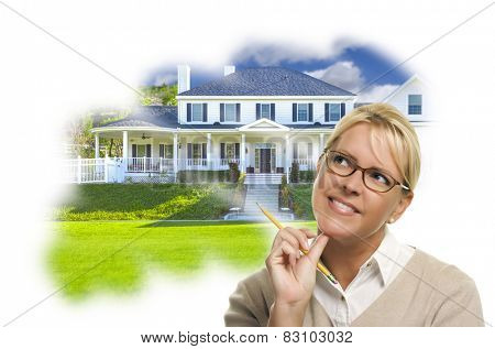 Daydreaming Woman With Pencil Over Custom House Photo In Thought Bubble.