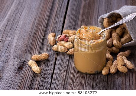 Fresh Made Creamy Peanut Butter In A Glass Jar