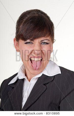 Secretary showing her tongue
