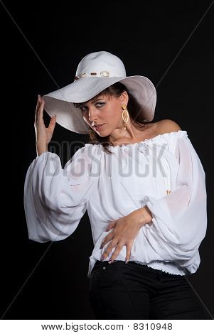 Beautiful lady with white hut