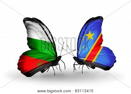 Two Butterflies With Flags On Wings As Symbol Of Relations Bulgaria And Kongo