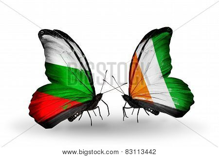 Two Butterflies With Flags On Wings As Symbol Of Relations Bulgaria And Cote Divoire