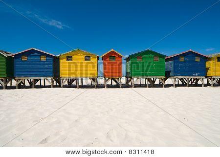 Wooden beach cabins