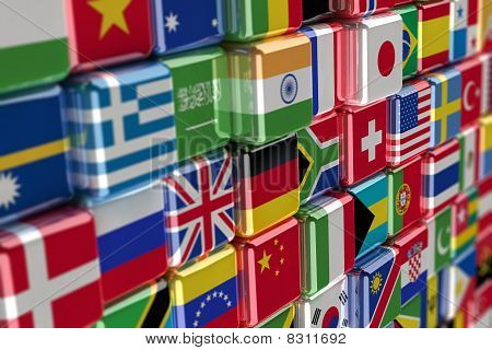 Internationale Flag cubes