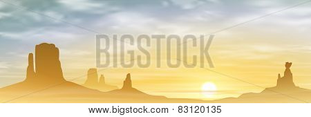 A Desert Landscape with Mountains and Sunset, Sunrise. Vector EPS 10.