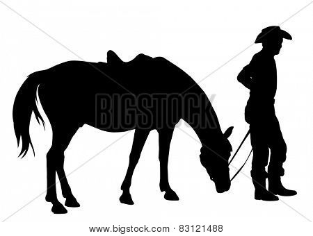 cowboy with his horse silhouette