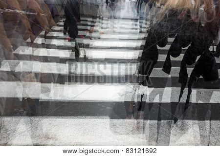 People crossing a road hurrying blurred motion poster