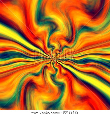 Abstract colorful energetic bang background. Infinite fractal art. Smudged watercolor. Erupting splatter volcano. Blue red orange color splash. Sine waves movement illusion. Paint brush style. Psychedelic creative funky effect. poster