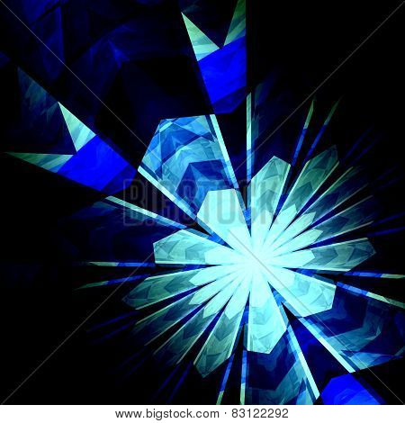 Abstract futuristic blue burst background. Nuclear physics. Science fiction backgrounds. Nucleus.