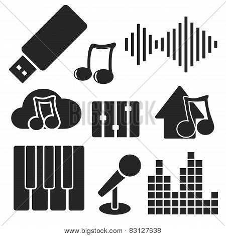 Set Of Music Web And Mobile Icons. Vector.