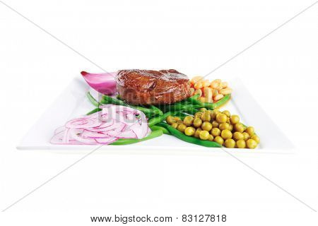 served meat medalion on green beans with vegetables poster