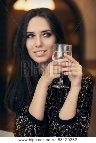 Beautiful Elegant  Woman Holding a Drink