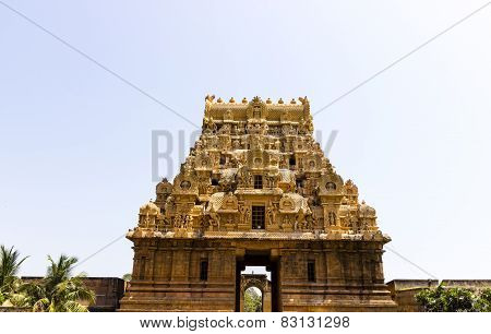 The magnificent temple entrance / Gopura architecture of Brahadeewarar Hindu temple, Thanjavur