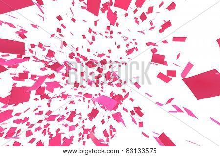 Pink confettei on white background. Slight motion blur. no depth.