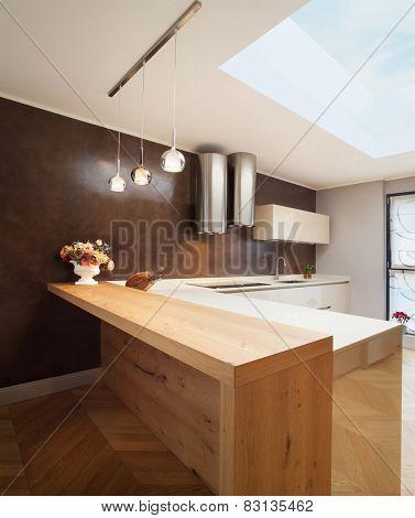 Architecture, interior apartment furnished, domestic kitchen poster