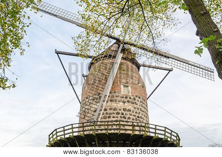 Ancient Windmill In Zons Am Rhein