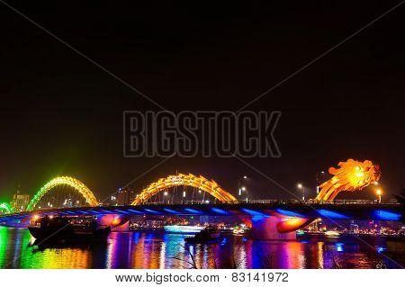 Orange Dragon Bridge At Night Danang Vietnam