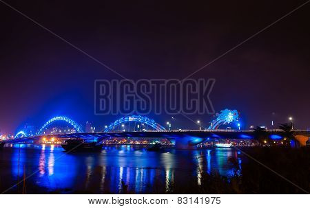 Blue Dragon Bridge In Danang Vietnam