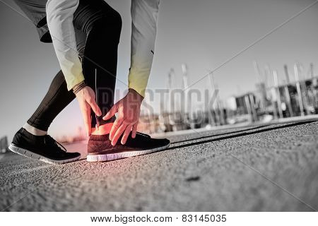 Broken Twisted Ankle - Running Sport Injury. Athletic Man Runner Touching Foot In Pain Due To Sprain