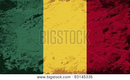 Malian flag. Grunge background. Vector illustration