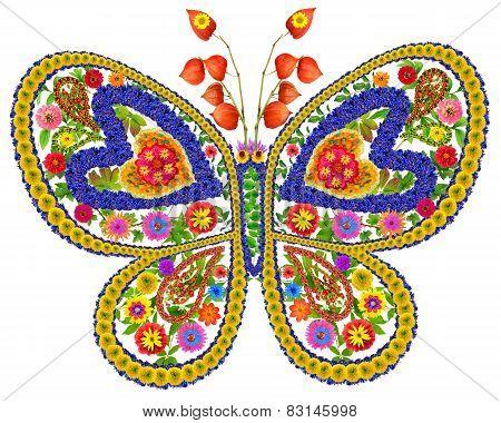 Butterfly In Love From Summer Flowers