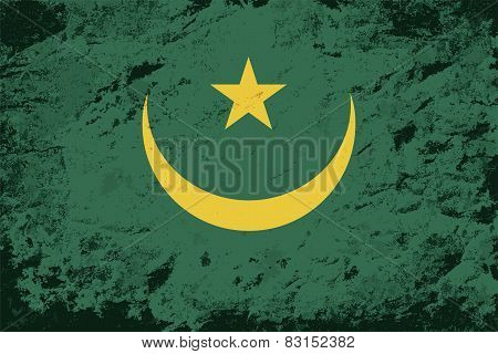 Mauritanian flag. Grunge background. Vector illustration