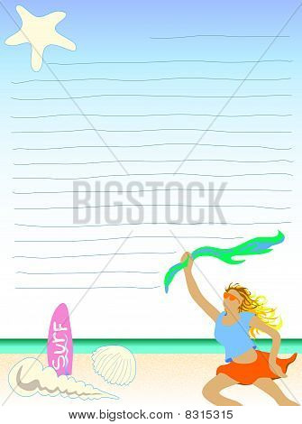 beach theme letter not paper