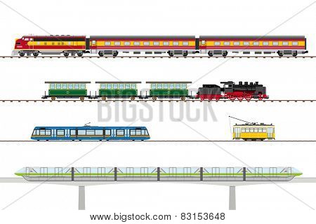 Trains and Trams Vector Collection. Historic and contemporary trams and trains vector illustration.