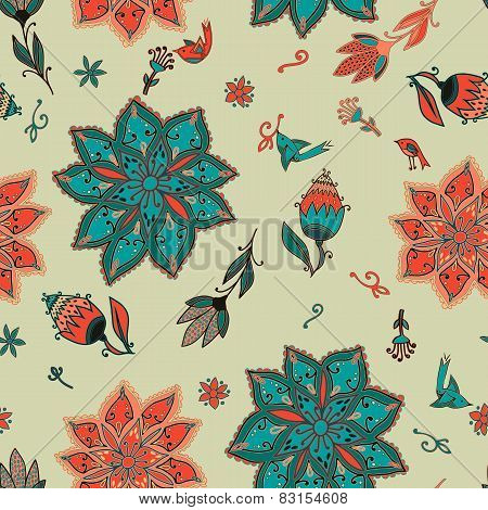 Vector Romantic Doodle Floral Pattern With Birds