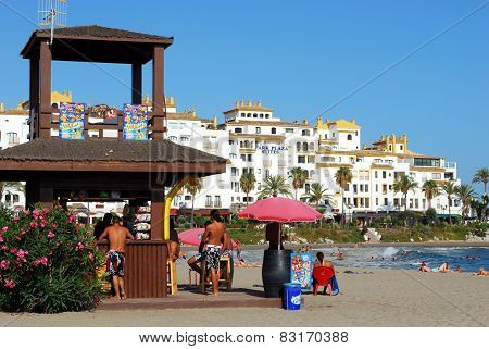 Snack bar on the beach, Marbella.