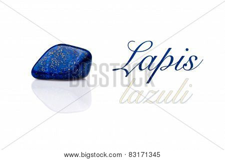 Beautiful Blue Lapis Lazuli Gem Stone Isolated Text