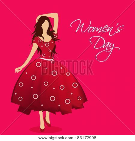 Beautiful young girl standing in a stylish pose on pink background, Greeting card design on occasion of International Women's Day.
