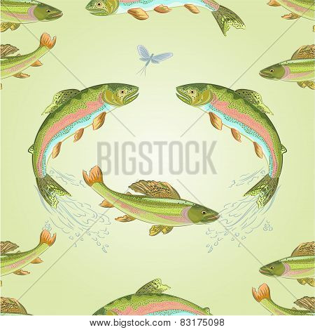 Seamless Texture  American Trout And Ephemera  Vector