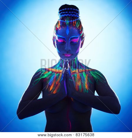 Fantasy woman with hands in Namaste prayer pose