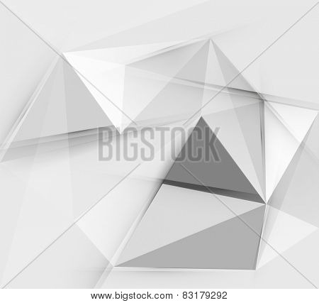 Grey triangular vector abstract background, geometric polygon pattern poster