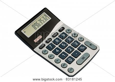 a calculator lies on a white background