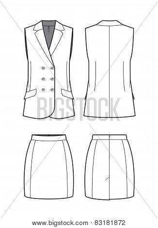 Vector Women's Vest And Skirt