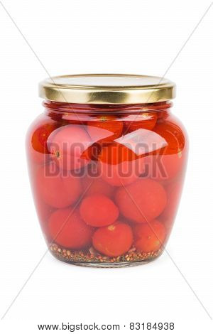 Glass Jar With Pickled Cherry Tomatoes