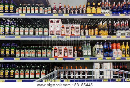 Showcase Alcoholic Beverages At The Hypermarket Metro